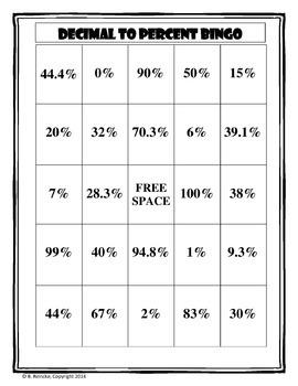 Converting Between Fractions, Decimals, and Percents Bingo Games