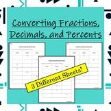 Converting Between Fractions, Decimals, and Percents Worksheets