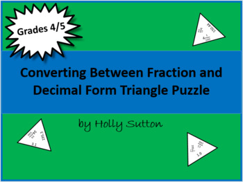 Converting Between Fractions and Decimals Triangle Puzzle