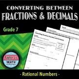Converting Between Fractions and Decimals Worksheet