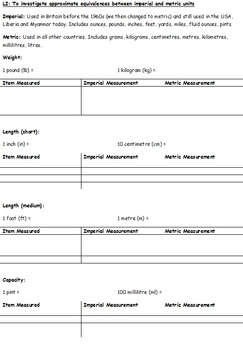 Converting Between Imperial and Metric Units - Lesson Plan and Resources for KS2