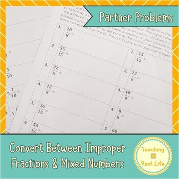 Converting Between Improper Fractions and Mixed Numbers Partner Problems