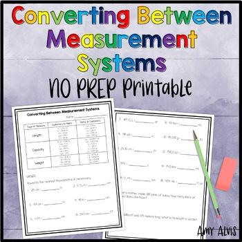 Converting Between Measurement Systems NO PREP Printables