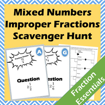 Converting Between Mixed Numbers and Improper Fractions Scavenger Hunt