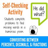 Converting Between Percents, Decimals and Fractions Fun Limerick Activity