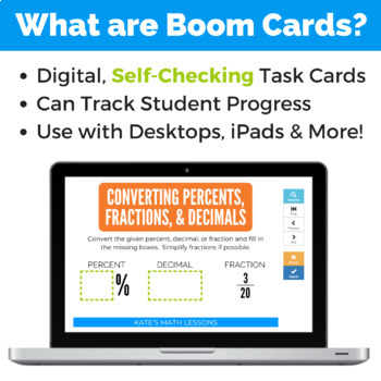 Converting between Percents, Decimals and Fractions Boom Cards™