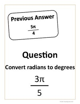 Converting Between Radians and Degrees Scavenger Hunt (CCSS.HSF.TF.A)