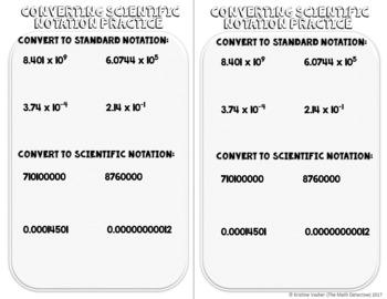 Converting Between Scientific & Standard Notation - Doodle Note Brochure for INB