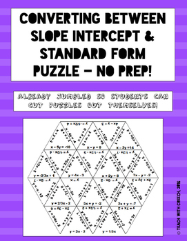 Converting Between Slope-Intercept and Standard Form Puzzle