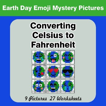 Converting Celsius to Fahrenheit - Earth Day Emoji Math Mystery Pictures