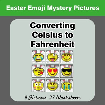 Converting Celsius to Fahrenheit - Easter Emoji Math Mystery Pictures