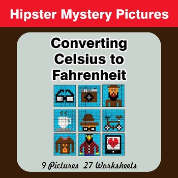 Converting Celsius to Fahrenheit - Hipsters Math Mystery Pictures