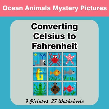 Converting Celsius to Fahrenheit - Ocean Animals Math Mystery Pictures