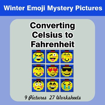 Converting Celsius to Fahrenheit - Winter Snowman Emoji Math Mystery Pictures