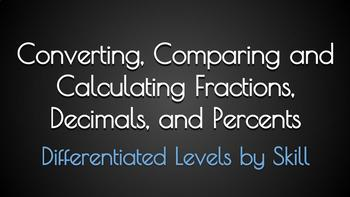 Converting, Comparing and Calculating Fractions, Decimals and Percents