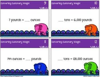 Converting Customary Units Bundle {Math Task Cards}