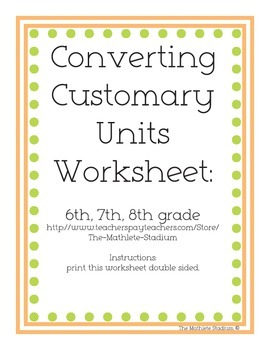 Converting Customary Units Printable Worksheet with Answer Key