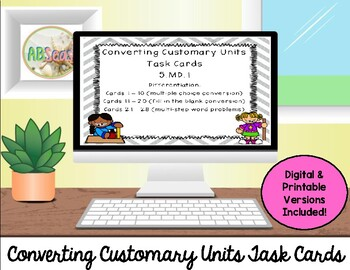 Converting Customary Units Differentiated Review Task Cards