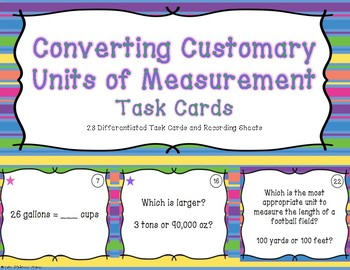 Converting Customary Units of Measurement Differentiated Task Cards