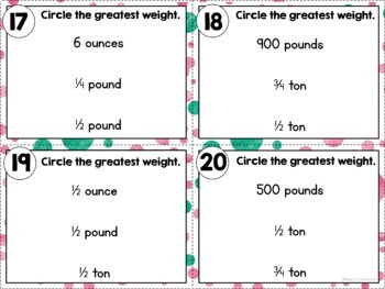 Converting Customary Units of Weight Task Cards