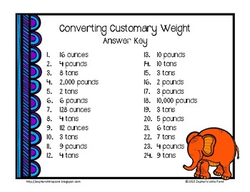 Converting Customary Weight {Math Task Cards}