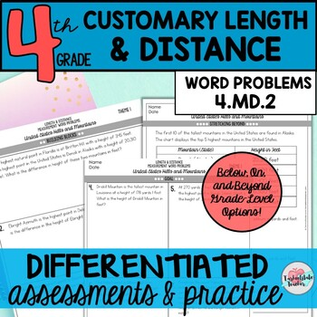 Customary Measurement Word Problems Inches, Feet, Yards {Differentiated}