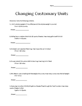 Converting Customery Units Worksheet Freebie
