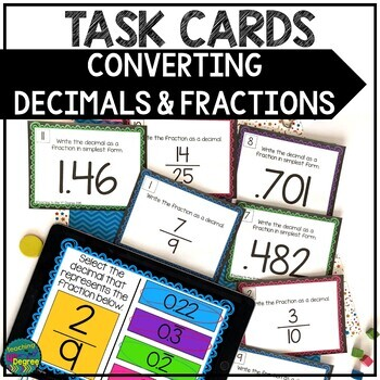Converting Decimals & Fractions Task Cards: Terminating &
