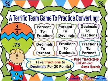 Converting Decimals, Fractions and Percent Cooperative Games