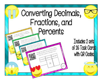 Converting Decimals, Fractions, and Percents Task Cards wi