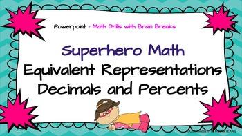 Converting Decimals - Percents - Math Skill Drill with Brain Break TEK 6.4G