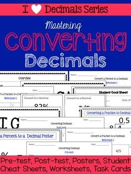 Converting Decimals Unit-Pretests, Post-tests, Posters, Cheat Sheets, Worksheets