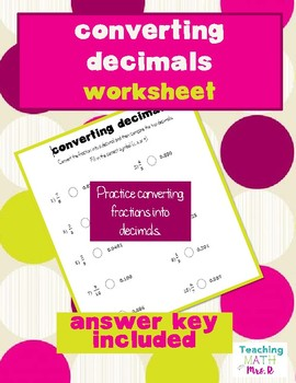 Converting Decimals Worksheet