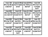 "Converting Decimals and Fractions, ""I have, who has"" game"