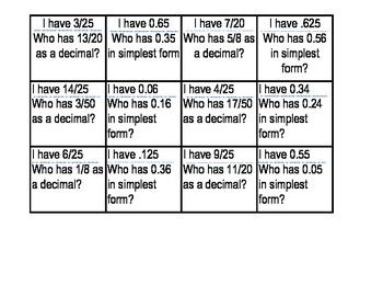 """Converting Decimals and Fractions, """"I have, who has"""" game"""