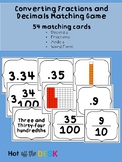 Converting Decimals and Fractions Matching Cards