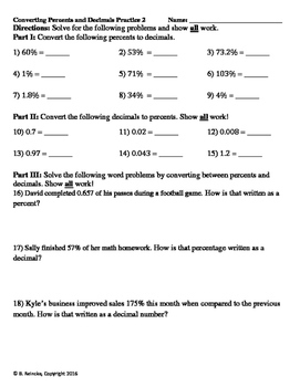Converting Decimals and Percents Practice Worksheets