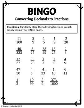 Converting Decimals to Fractions BINGO