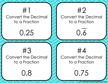 Converting Decimals to Fractions Bingo