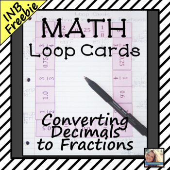 Converting Decimals to Fractions Loop Cards