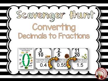 Converting Decimals to Fractions - Scavenger Hunt