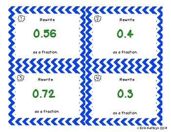 Converting Decimals to Fractions Task Cards - Set of 24 Common Core Aligned