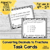 Converting Decimals to Fractions Task Cards | TEKS 4.2g | Math Test Prep