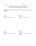Converting Decimals to Fractions Worksheet