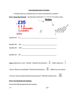 Converting Decimals to Fractions Worksheet and Lesson