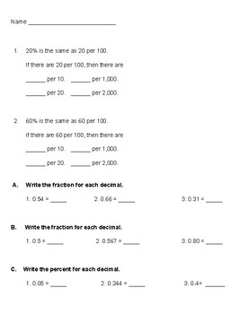 Converting Decimals to Fractions and Percents
