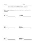 Converting Decimals to FractionsPractice Worksheet