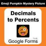 Converting Decimals to Percent - EMOJI PUMPKIN Mystery Pic