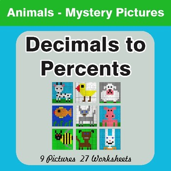 Converting Decimals to Percents - Color-By-Number Mystery