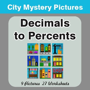 Converting Decimals to Percents - Color-By-Number Mystery Pictures